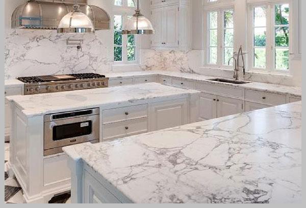 Bàn bếp đá Marble trắng Carrara