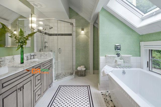 Nhà tắm đá trắng đường