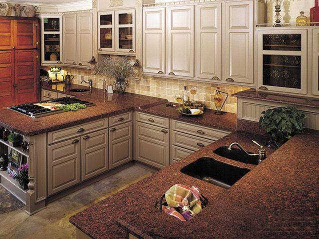 Đá granite ốp bếp màu đỏ