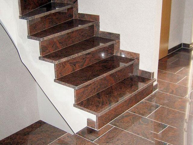Đá Granite ốp cầu thang màu đỏ