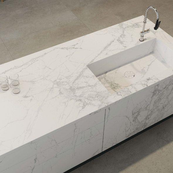 Mặt đá tủ bếp màu trắng Marble