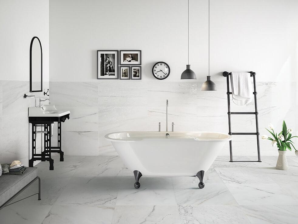 Đá Marble trắng ốp tường nhà tắm