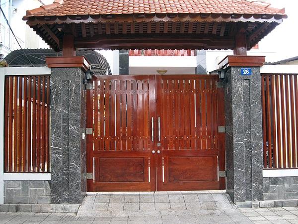 Trụ cổng ốp đá
